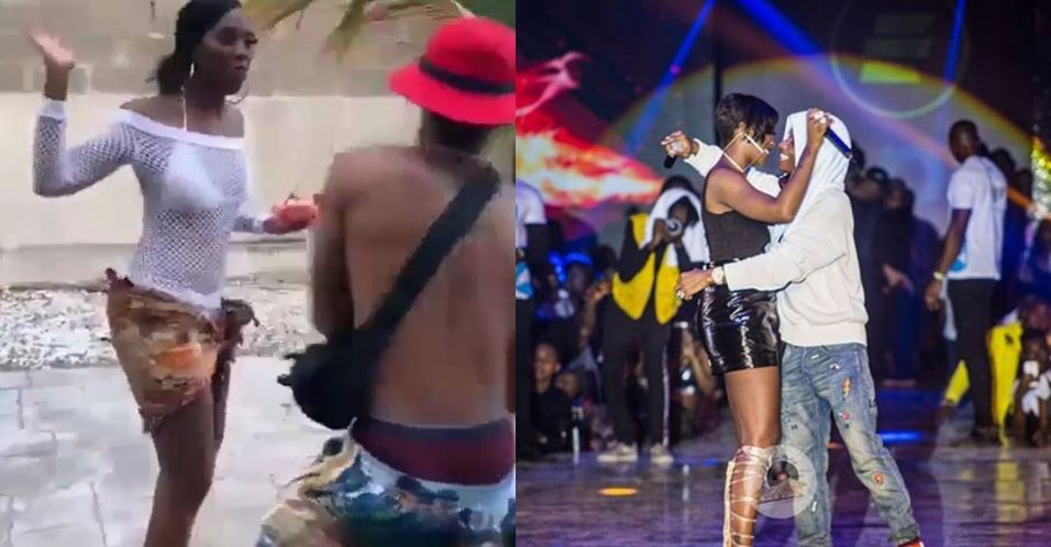 Watch moment Wizkid tapped Tiwa Savage's 'bumbum' and ran away (video)