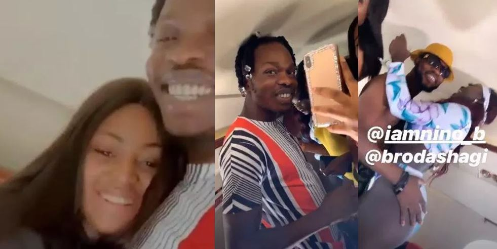 Naira Marley, Broda Shagi, Regina Daniels and her friends party inside Ned Nwoko's private jet (Video)