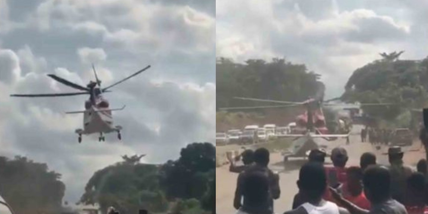 Man stuck in traffic along Lagos-Benin Expressway picked up an Helicopter, Nigerians react