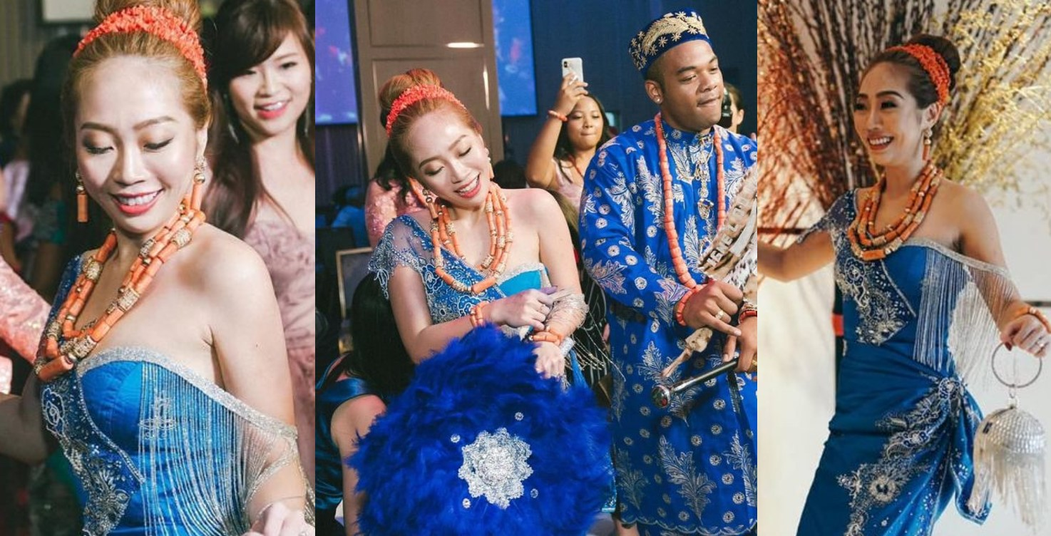 Nigerian man weds a Taiwanese lady in Taipei, bride dresses in Igbo attire