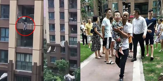 Neighbours catch 3-year-old boy after he fell from a 6-storey building (Video)