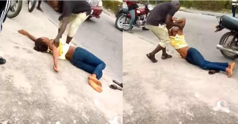 Marry me or I die – Lady faints as she begs boyfriend on street to marry her (Video)