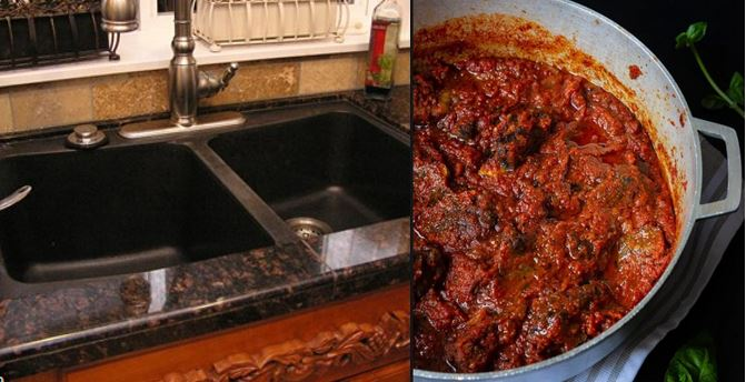 Plumber caught stealing meat from a pot of stew