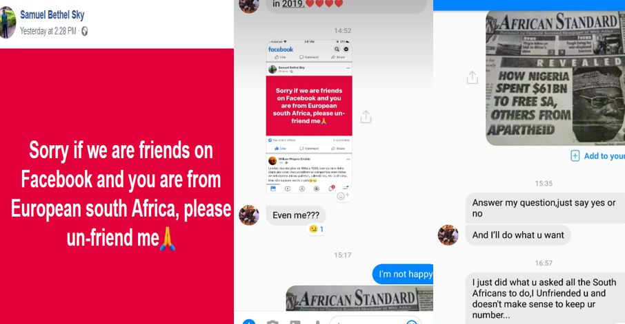 Nigerian guy shares chat with his South African babe after he asked all South Africans to unfriend him on Facebook