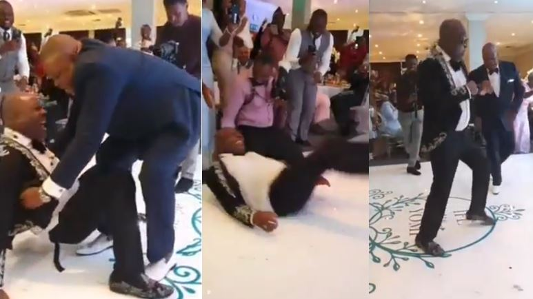 Watch the moment Sir Shina Peters fell while doing the 'Gbese' at his daughter's wedding