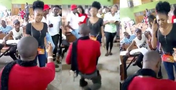 Benue State University Student slaps man who proposed to her in lecture hall (Video)