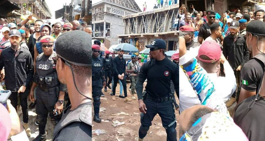 Photos of Phyno as he visits Ochanja Market fire victims, promises to help them