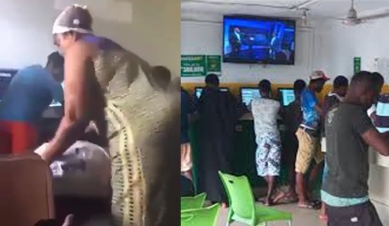 Nigerian mother tracks her son to betting shop, beat him for 'staking too many odds'