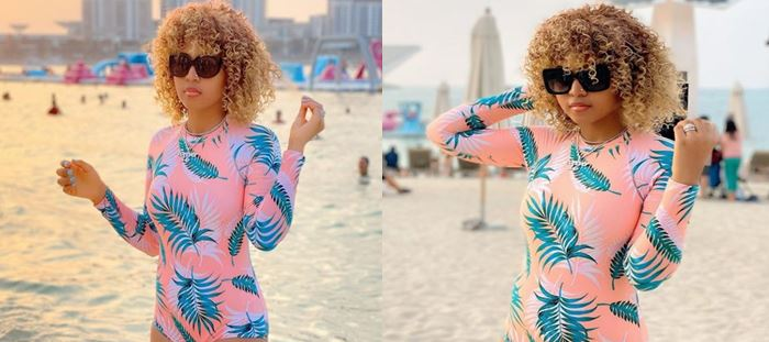 Regina Daniels stuns at the beach in Dubai