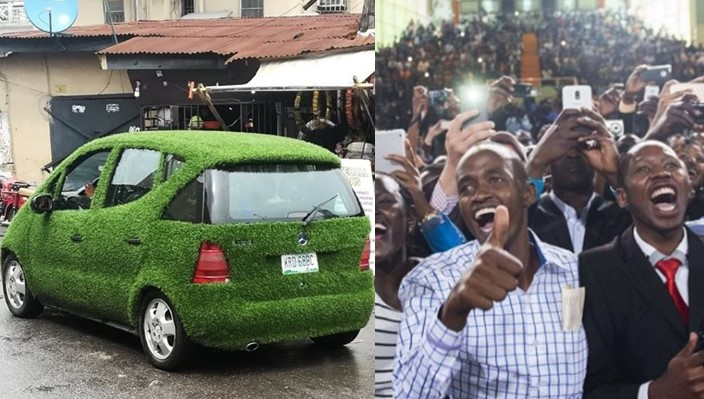 Beautiful Car covered with carpet grass amazes Lagos residents (Photos)
