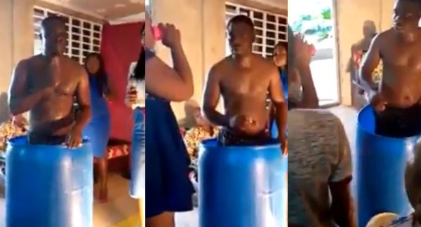 Shocking as pastor bathes in church, asks church members to drink his bath water and they did (video)