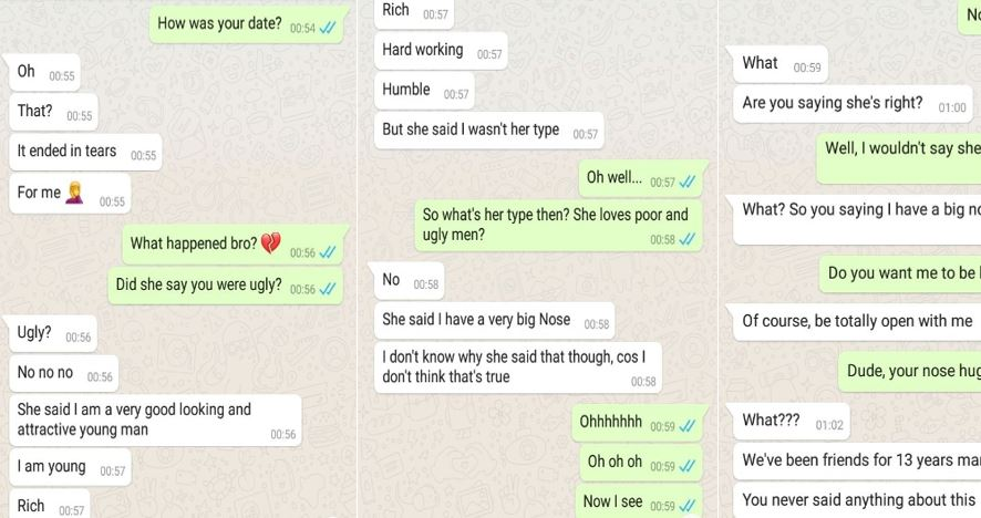 MAD O! This is the funniest chat I have read: Chat between a guy and his friend after his date with a new girl ended in tears