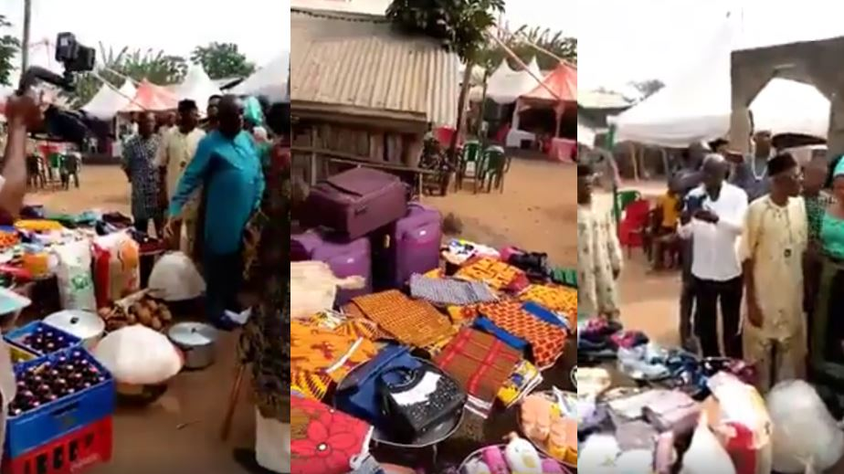 VIDEO: See the many items a man used in paying the bride price of his fiancee in a state in Nigeria