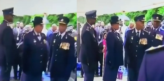 Video: South African police officers bump into eachother as they march in confusion at funeral parade of  Maponya