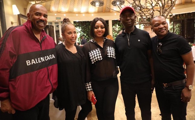 Ned Nwoko and Regina Daniels spotted with U.S. comedian Steve Harvey (Photos)