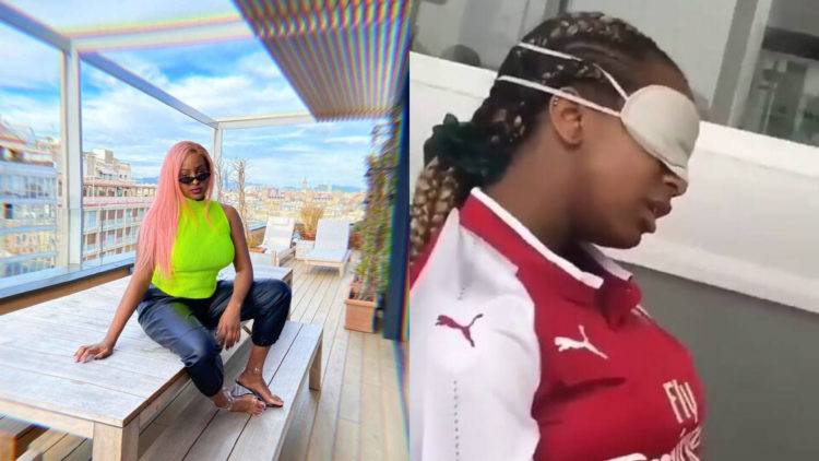 Video: Billionaire heiress, DJ Cuppy caught drooling while sleeping in public