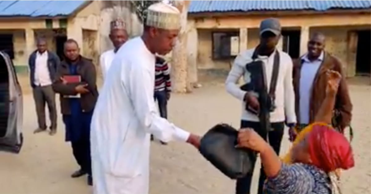 Gov Zulum gifts N100k to teacher for her dedication, promotes her to assistant headmistress (Video)