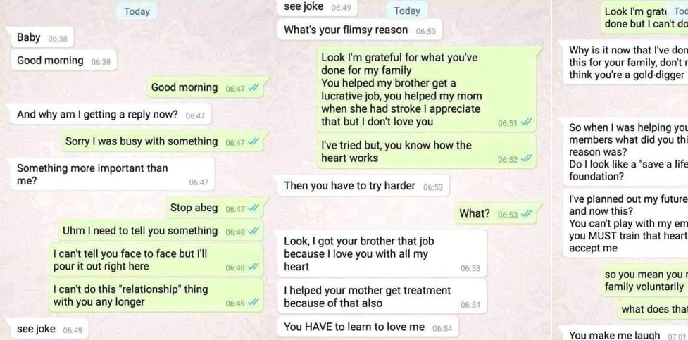 """You see this relationship, we die there"" – Screenshots of breakup chat between a girl and her boyfriend who rejected the breakup"