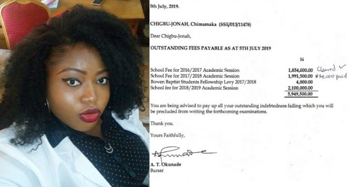 Final year student begs for N4.8m donation to enable her pay outstanding fees or she won't graduate
