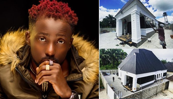 Erigga thanks God for blessing him as he shows off new mansion (Photos)
