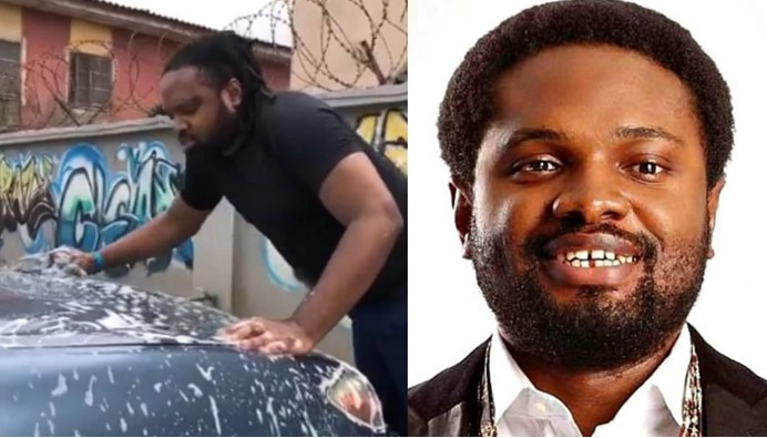 Nigerians react after visually impaired producer, Cobhams Asuquo was seen washing his car (Video)