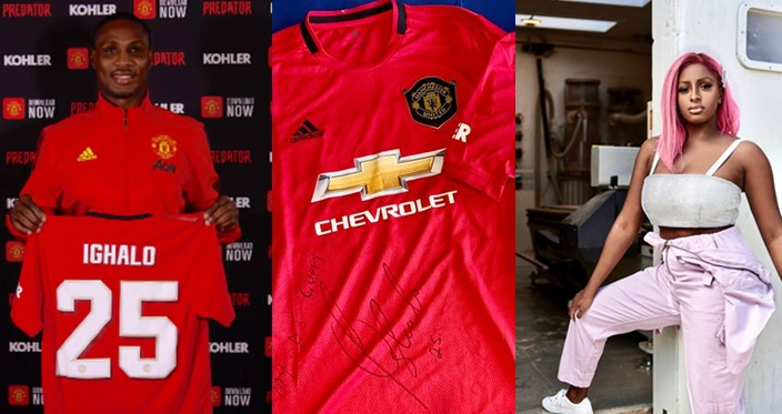 Ighalo welcomes DJ Cuppy to Manchester United by sending a signed Jersey to her