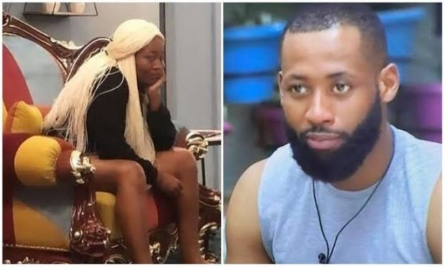 Tochi in mini-fight with current BBNaija lockdown HOH, tells her she can't order him (VIDEO)