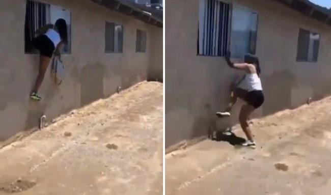 Side chic flees through window as lover's wife arrives (Video)