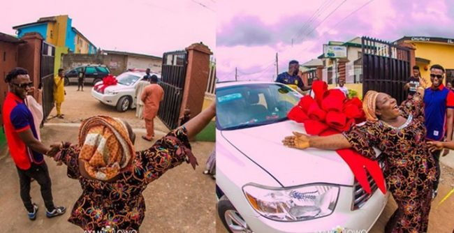 DJ Kaywise gifts his mum a brand new car in celebration of her birthday (Photos)