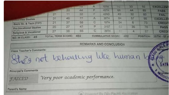 student report card pic