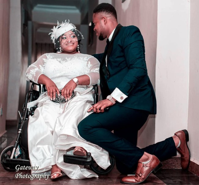 Physically challenged lady appreciates husband as she shares photos from their wedding,