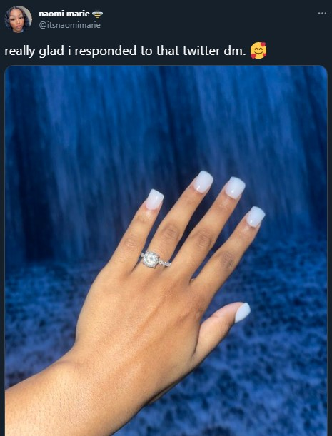 Beautiful lady gets engaged to man she met on Twitte