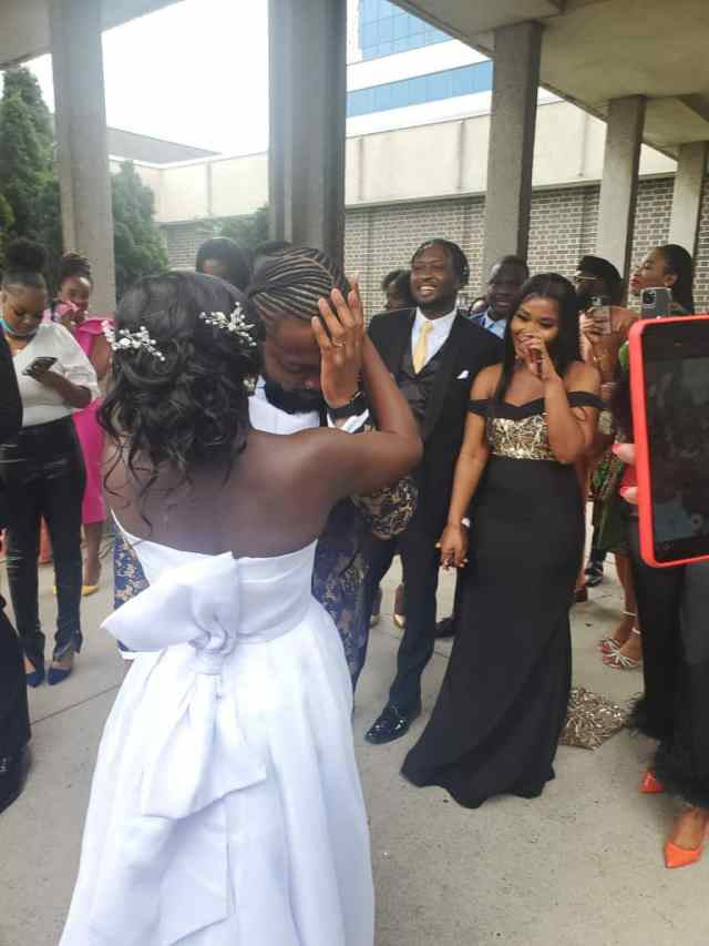 Nigerian man sheds tears of joy as his bride gifts him a car on their wedding day (Video)