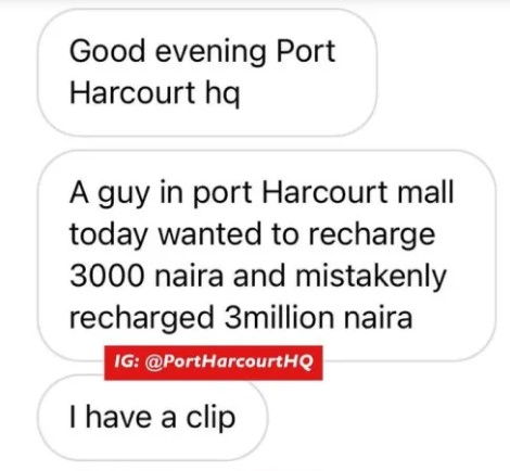 Man cries uncontrollably after mistakenly recharging N3 million airtime instead of 3k