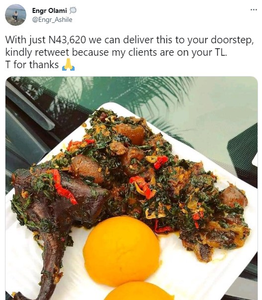 Nigerians react as man shows off plate of eba and soup that cost over N43k