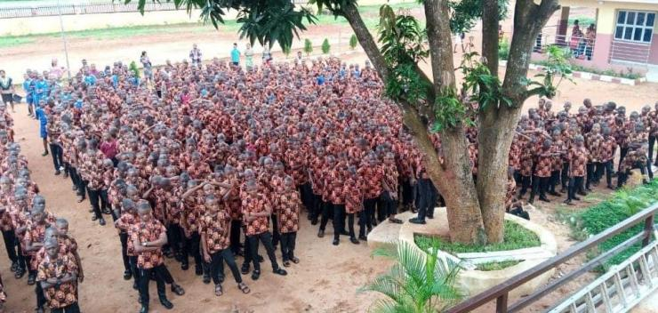 Students wear 'Isiagu' as uniform on first day of school in Anambra (Photos)