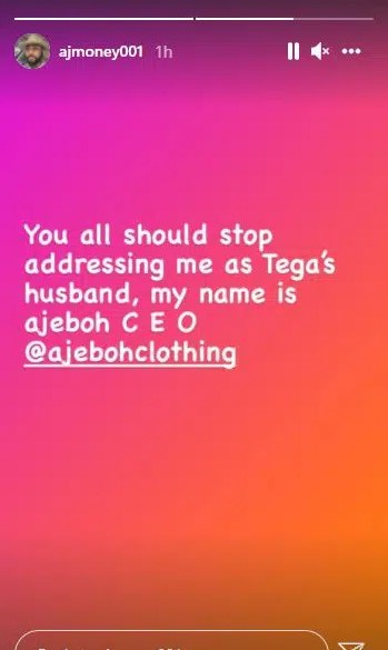 """After Tega cried out over difficulty in marriage, her husband tells Nigerians to stop calling him """"Tega's husband"""""""