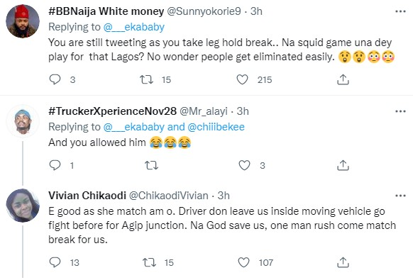 Lady narrates how Lagos Danfo driver asked her to 'match brake' for him so he can go fight