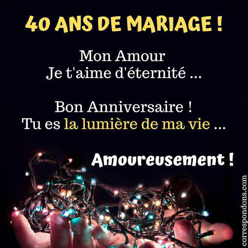 anniversaire 40 ans mariage texte