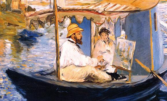 «Monet che dipinge sull'atelier galleggiante» (1874), un dipinto di Édouard Manet (1832-1883), olio su tela 81x100, Monaco, Neue Pinakothek