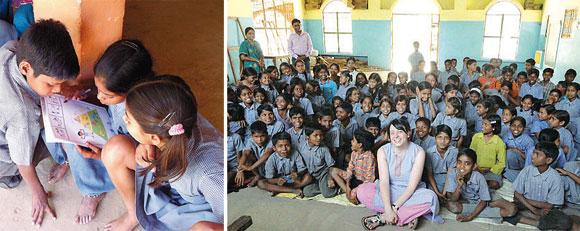 Nella foto a sinistra, tre bimbi indiani con i fumetti educativi di «Plain Ink»; nella foto a destra, Selene Biffi in India, nella scuola di una bidonville