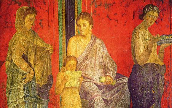 Una parete affrescata di Villa dei Misteri a Pompei