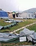 Nel cantiere di Bazzano, in Abruzzo, l'impresa Igc, Impresa Generale Costruzioni di Gela, ha effettuato lavori di ricostruzione post terremoto. Nelle foto, la fase delle tendopoli