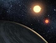 L'illustrazione che rappresenta Kepler-16b
