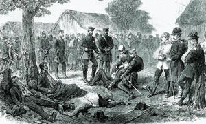 Il principe ereditario Federico di Prussia visita i feriti dopo la battaglia di Sadowa (Königgrätz per i tedeschi), che vide i prussiani battere gli austriaci il 3 luglio 1866 (stampa d'epoca)