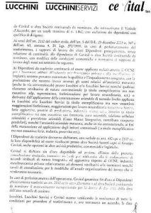 Una pagina della lettera inviata da Cevital ai sindacati