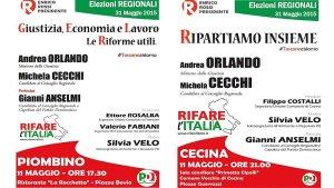le due iniziativa a Piombino e Cecina