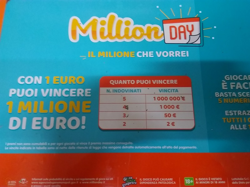 Estrazione Million Day Ferragosto: i numeri vincenti