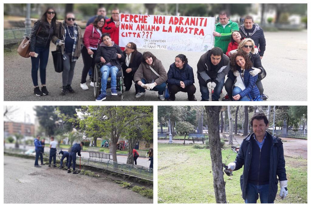 Adrano, volontari alla Villa comunale per la Giornata Ecologica: ci sono anche il sindaco e gli assessori