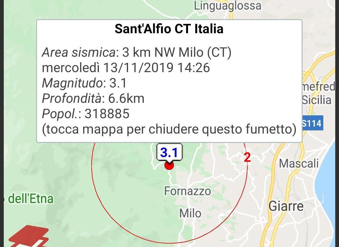 Milo, alle 14.26 scossa di terremoto di magnitudo 3.1: avvertita in altri paesi